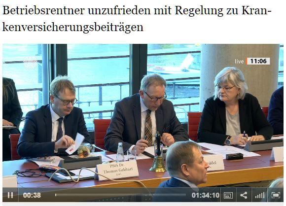 Anhörung im Gesundheitsausschuss – Veränderung bei der Verbeitragung von Betriebsrenten