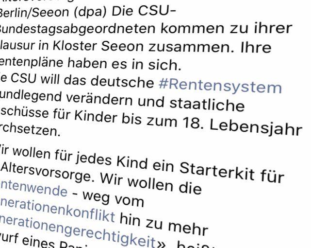 Rente: #CSU fordert «#Starterkit» für die Altersvorsorge