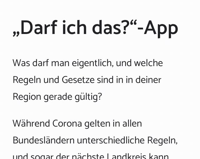 App-Empfehlung über Hilfe bei Corona